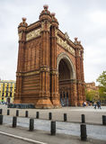 Arc de Triomf arch in Barcelona, Spain. BARCELONA, CATALONIA, SPAIN - OCTOBER 10, 2016. Arc de Triomf Triumphal Arch, near Parc De La Ciutadella Stock Photos