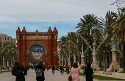 Arc de Triomf/Arco de Triunfo, Barcelona, Catalunya, Spain Royalty Free Stock Photography