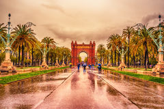 The Arc de Triomf, Arco de Triunfo in Spanish, a triumphal arc in the city of Barcelona, in Catalonia, Spain Stock Image