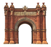 Arc de Triomf in Barcelona. Triumphal arch in Barcelona (Spain) isolated on white Royalty Free Stock Photography