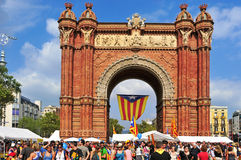 Arc de Triomf in Barcelona. BARCELONA, SPAIN - SEPTEMBER 11: Arc de Triomf during the National Day of Catalonia on September 11, 2012 in Barcelona, Spain. A huge Stock Photo