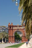 Arc de Triomf - Barcelona. The curious red brick, Islamic style arch was finished in 1888 as an entrance to the Universal Exhibition in Barcelona Stock Photo