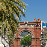 Arc de Triomf - Barcelona. The curious red brick, Islamic style arch was finished in 1888 as an entrance to the Universal Exhibition in Barcelona Royalty Free Stock Photography