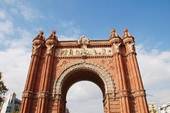 Arc de Triomf in Barcelona. The historic Arc de Triomf in Barcelona, Spain on November 1, 2017. It was built in 1888 as the entrance to the Barcelona World Royalty Free Stock Photography