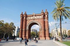 Arc de Triomf, Barcelona. The historic Arc de Triomf in Barcelona, Spain on November 1, 2017. It was built in 1888 as the entrance to the Barcelona World Royalty Free Stock Photo