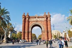 The Arc de Triomf, Barcelona. The historic Arc de Triomf in Barcelona, Spain on November 1, 2017. It was built in 1888 as the entrance to the Barcelona World Royalty Free Stock Photo