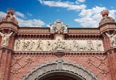 Arc de Triomf in Barcelona, the main access door. The Arc de Triomf in Spain or the Arco de Triunfo is a triumphant victory in the city of Barcelona in Royalty Free Stock Photo