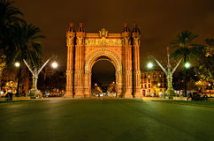 The Arc de Triomf, Barcelona, Spain. The Arc de Triomf, archway structure in Barcelona, Spain, at night. It was built for the Exposición Universal de Barcelona Royalty Free Stock Photography