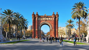 Arc de Triomf in Barcelona, Spain. BARCELONA, SPAIN - DECEMBER 18: Arc de Triomf on December 18, 2011 in Barcelona, Spain. Designed by Josep Vilaseca, it was Royalty Free Stock Photography