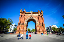 Arc de Triomf in Barcelona. Spain.The Arc de Triomf (Catalan pronunciation: [ˈarɡ də tɾiˈomf]) is an arch in the manner of a memorial or triumphal arch in Stock Photography