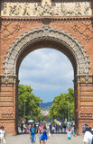 Arc de Triomf in Barcelona, Spain. Designed by Josep Vilaseca, it was built for the 1888 Universal Exposition as its main access gate Royalty Free Stock Image