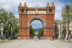 Arc de Triomf in Barcelona, Spain. Designed by Josep Vilaseca, it was built for the 1888 Universal Exposition as its main access gate Royalty Free Stock Photo