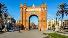 Arc de Triomf, Barcelona, Spain. Barcelona, Spain - January 15, 2015: Arc de Triomf at the end of a promenade leading to the Parc de la Ciutadella in Barcelona Stock Image