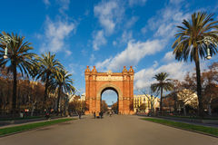 The Arc de Triomf, Barcelona. Barcelona, Spain - January 06 2017: People are walking on the alley near the Arc de Triomph in morning Royalty Free Stock Photos