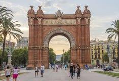 Arc de Triomf in Barcelona. BARCELONA, SPAIN - JULY 11, 2016: Arc de Triomf at the end of a promenade leading to the Parc de la Ciutadella in Barcelona Royalty Free Stock Photography