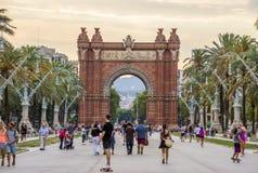 Arc de Triomf in Barcelona. BARCELONA, SPAIN - JULY 11, 2016: Arc de Triomf at the end of a promenade leading to the Parc de la Ciutadella in Barcelona Stock Photos