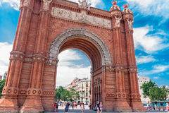Arc de Triomf in Barcelona. BARCELONA, SPAIN - July 21: Arc de Triomf was built for the 1888 Universal Exposition as its main access gate  by architect Josep Stock Photo