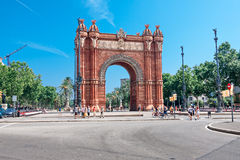 Arc de Triomf in Barcelona. BARCELONA, SPAIN - July 21: Arc de Triomf was built for the 1888 Universal Exposition as its main access gate  by architect Josep Royalty Free Stock Images