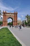 Arc de Triomf, Barcelona, Spain. BARCELONA, SPAIN - MAY 31: Arc de Triomf on May 31, 2013 in Barcelona, Spain. Designed by Josep Vilaseca, it was built for the Royalty Free Stock Photography
