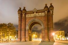 Arc de Triomf - Barcelona, Spain. The Arc de Triomf at night in Barcelona, Spain Royalty Free Stock Photo