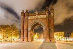 Arc de Triomf - Barcelona, Spain. The Arc de Triomf at night in Barcelona, Spain Stock Photos