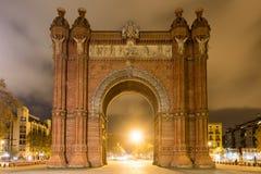 Arc de Triomf - Barcelona, Spain. The Arc de Triomf at night in Barcelona, Spain Stock Photography