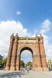 Arc de Triomf, Barcelona. Barcelona, Spain - October 29, 2014: Panoramic view of Arc de Triomf Barcelona with people walking around. It was built as the main Stock Images