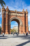 The Arc de Triomf. BARCELONA, SPAIN - OCTOBER 22, 2015: The Arc de Triomf  is a triumphal arch in the city of Barcelona in Catalonia, Spain. The arch is built in Stock Images
