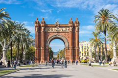 The Arc de Triomf. BARCELONA, SPAIN - OCTOBER 22, 2015: The Arc de Triomf  is a triumphal arch in the city of Barcelona in Catalonia, Spain. The arch is built in Royalty Free Stock Image