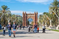 The Arc de Triomf. BARCELONA, SPAIN - OCTOBER 22, 2015: The Arc de Triomf  is a triumphal arch in the city of Barcelona in Catalonia, Spain. The arch is built in Royalty Free Stock Photo