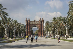Arc de Triomf is in Barcelona, Spain. The Arc de Triomf is one of the main attractions of Barcelona. Triumph Arch of Barcelona was built for the World Stock Photo