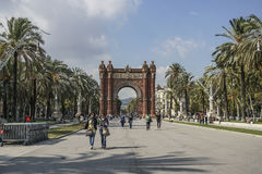 Arc de Triomf is in Barcelona, Spain. The Arc de Triomf is one of the main attractions of Barcelona. Triumph Arch of Barcelona was built for the World Royalty Free Stock Photography