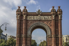 Arc de Triomf is in Barcelona, Spain. The Arc de Triomf is one of the main attractions of Barcelona. Triumph Arch of Barcelona was built for the World Royalty Free Stock Photos