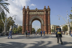 Arc de Triomf is in Barcelona, Spain. The Arc de Triomf is one of the main attractions of Barcelona. Triumph Arch of Barcelona was built for the World Royalty Free Stock Photo