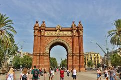 Arc de Triomf, Barcelona. The Barcelona Arc de Triomphe was built for the 1888 World Expo as a symbol to welcome all visitors from all over the world. It is Royalty Free Stock Photo