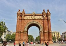 Arc de Triomf, Barcelona. The Barcelona Arc de Triomphe was built for the 1888 World Expo as a symbol to welcome all visitors from all over the world. It is Stock Image
