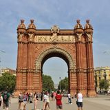 Arc de Triomf, Barcelona. The Barcelona Arc de Triomphe was built for the 1888 World Expo as a symbol to welcome all visitors from all over the world. It is Stock Photo