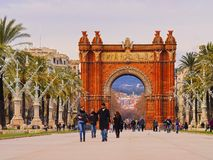 Arc de Triomf in Barcelona. Arc de Triomf - Triumphal Arch in Barcelona, Catalonia, Spain Stock Photo