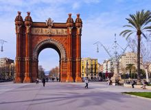 Arc de Triomf in Barcelona. Arc de Triomf - Triumphal Arch in Barcelona, Catalonia, Spain Stock Photos