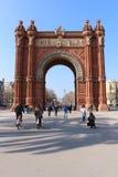 Arc de Triomf, Barcelona, Spain. The Arc de Triomf Catalan pronunciation: [ˈark də tɾiˈomf] or Arco de Triunfo in Spanish, is a triumphal arch in stock photography