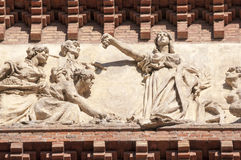 Arc de Triomf frieze, Barcelona. Fragment of famous Arc de Triomf frieze in  Barcelona, Spain Stock Image
