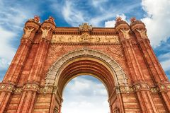 Arc de Triomf, iconic triumphal arc in Barcelona, Catalonia, Spa. Arc de Triomf, iconic triumphal arc and landmark in Barcelona, Catalonia, Spain Stock Images