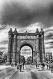 Arc de Triomf, iconic triumphal arc in Barcelona, Catalonia, Spa. BARCELONA - AUGUST 8: Arc de Triomf, iconic triumphal arc and landmark in Barcelona, Catalonia Stock Images