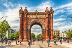 Arc de Triomf, iconic triumphal arc in Barcelona, Catalonia, Spa. BARCELONA - AUGUST 8: Arc de Triomf, iconic triumphal arc and landmark in Barcelona, Catalonia Stock Photo