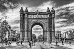 Arc de Triomf, iconic triumphal arc in Barcelona, Catalonia, Spa. BARCELONA - AUGUST 8: Arc de Triomf, iconic triumphal arc and landmark in Barcelona, Catalonia Royalty Free Stock Photos