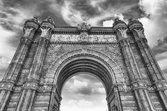 Arc de Triomf, iconic triumphal arc in Barcelona, Catalonia, Spa. Arc de Triomf, iconic triumphal arc and landmark in Barcelona, Catalonia, Spain Royalty Free Stock Photos