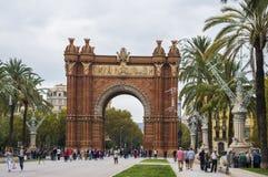 Arc de Triomf, Triumphal Arch. Barcelona, Spain. BARCELONA, CATALONIA, SPAIN - OCTOBER 10, 2016. Arc de Triomf Triumphal Arch, near Parc De La Ciutadella Stock Image