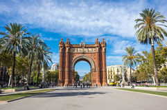 The Arc de Triomf. Is a triumphal arch in the city of Barcelona in Catalonia, Spain. The arch is built in reddish brickwork in the Neo-Mudejar style Royalty Free Stock Photography