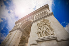 Arc de Triompe, Paris. The Arc de Triomphe in Paris, on a blue sky Royalty Free Stock Images