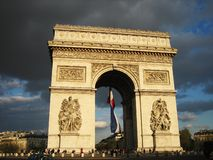 Arc de Triomph. Dramatic view of the Arc de Triomph Royalty Free Stock Photos